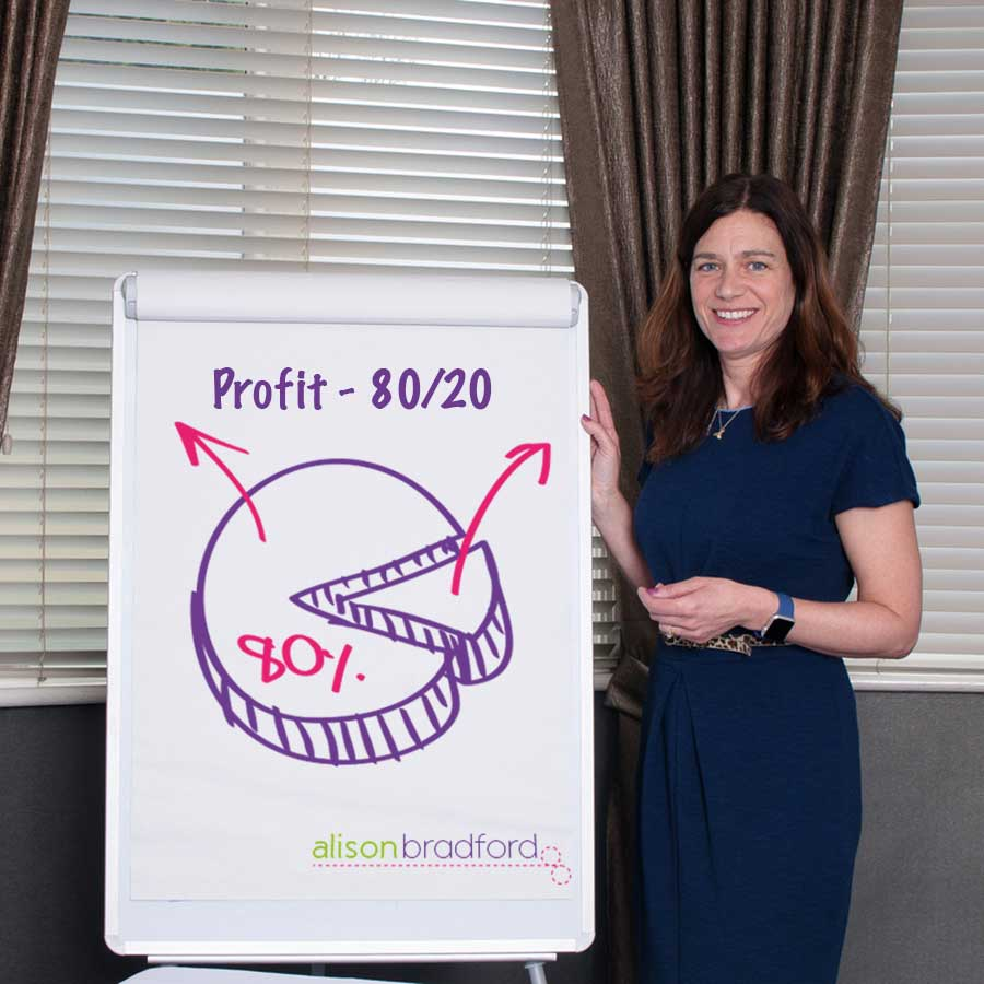 Business Coach Alison Bradford stands at the whiteboard with the 80/20 profit graph